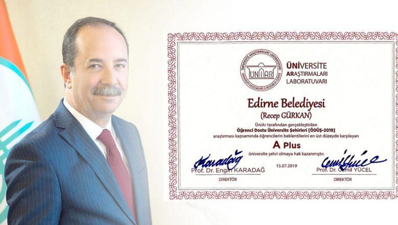 Edirne'ye A Plus Belgesi