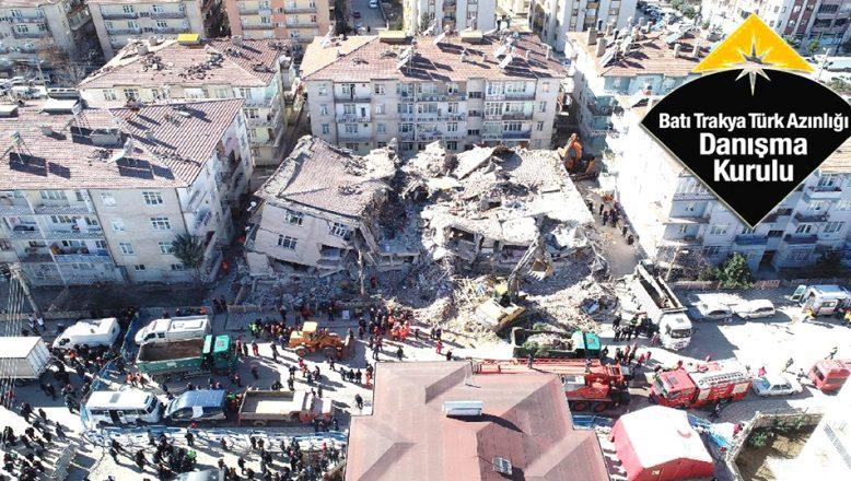 Batı Trakya Türkleri'nden, Anavatan'a taziye ve destek mesajları