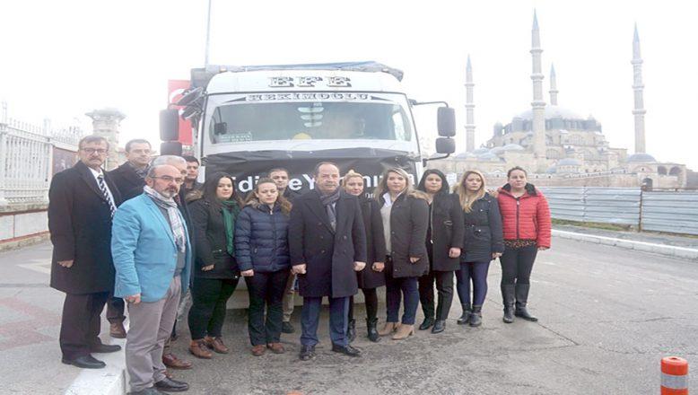 Yardım kamyonu Elazığ'a uğurlandı