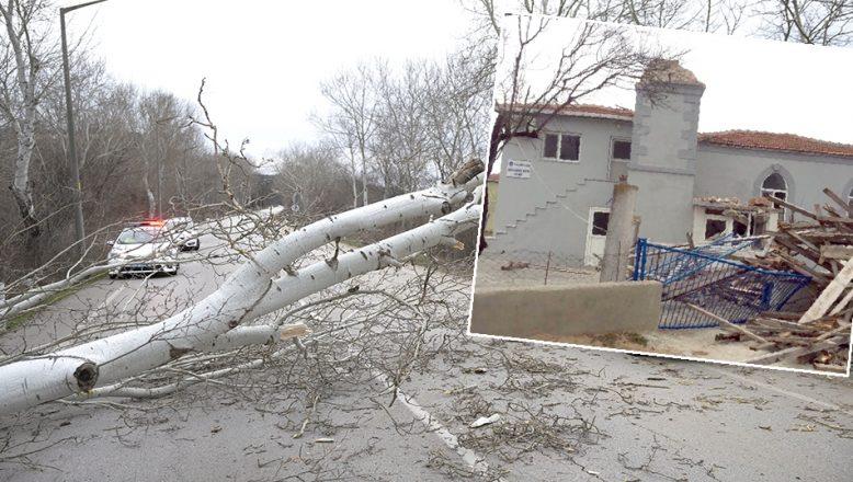 Fırtına ağaç devirdi, minare yıktı