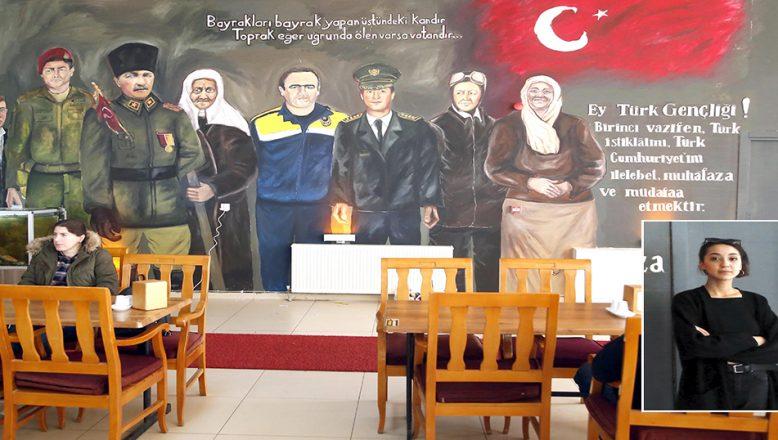Hastane'nin kantin duvarına, Türkiye'nin Kahramanları'nı resmetti