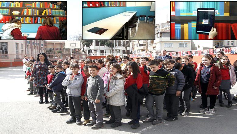 İlkokulda dijital kütüphane açıldı