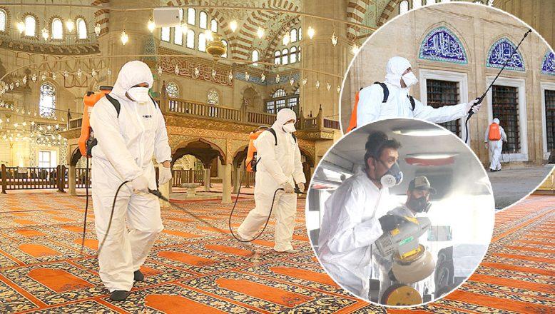 Otogar ve tarihi camiler dezenfekte edildi