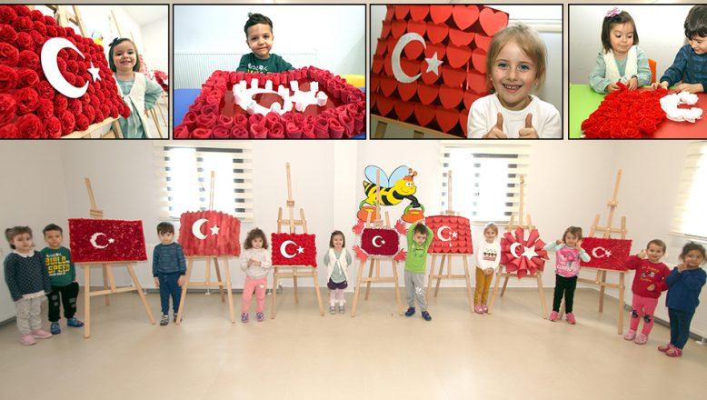 Anaokulu öğrencileri, Türk Bayrağı motifleri yaptı