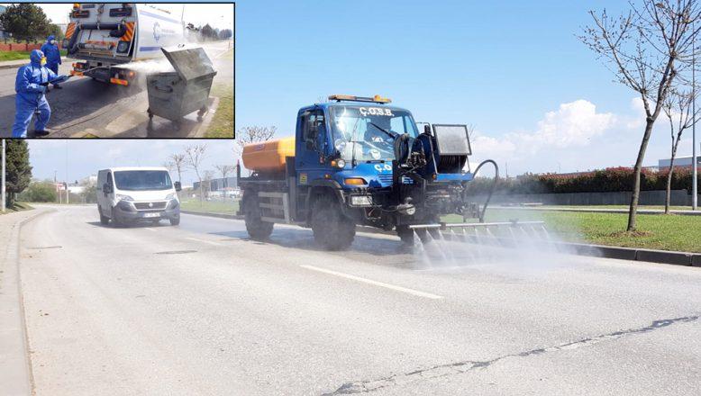 ÇOSB'de, dezenfektan işlemleri devam ediyor