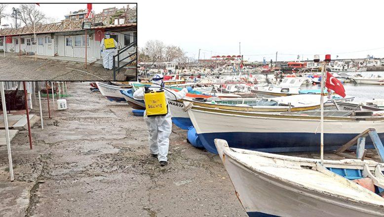 Balıkçı Barınağı'nda koronavirüs tedbirleri