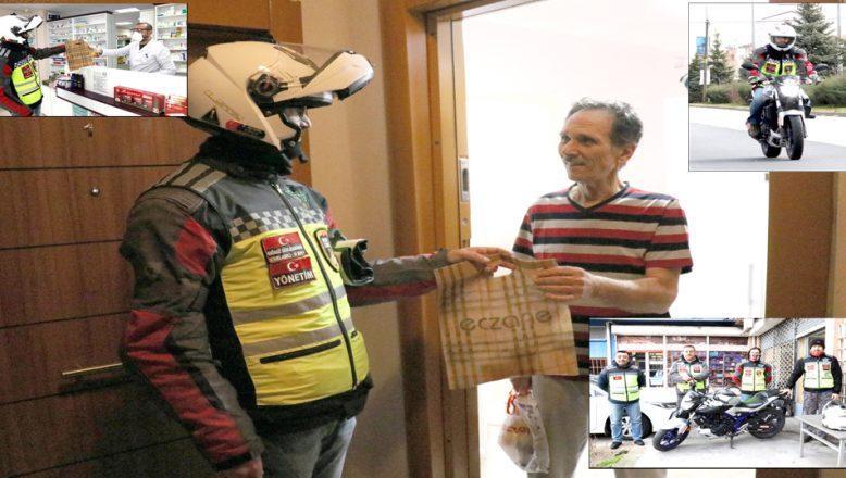 Motosiklet tutkunlarından yaşlı ve hastalara, 'Hızlı İlaç Servisi'