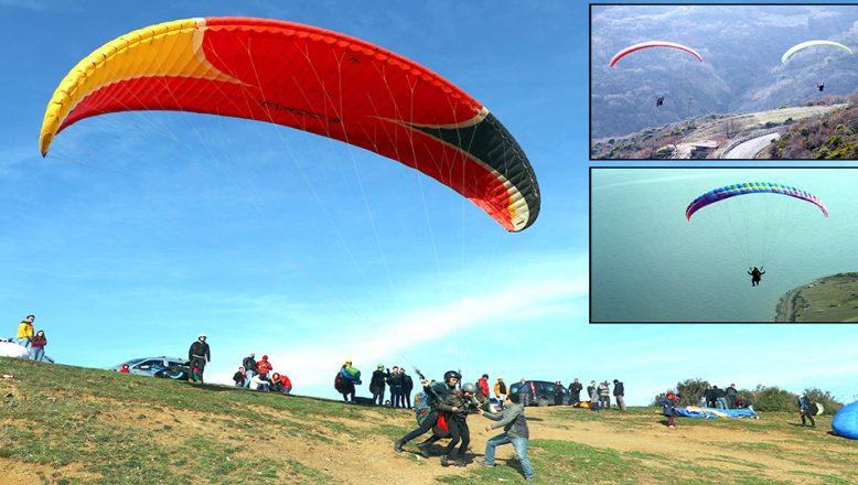 Uçmakdere'de adrenalin tutkunlarının yamaç paraşütü keyfi