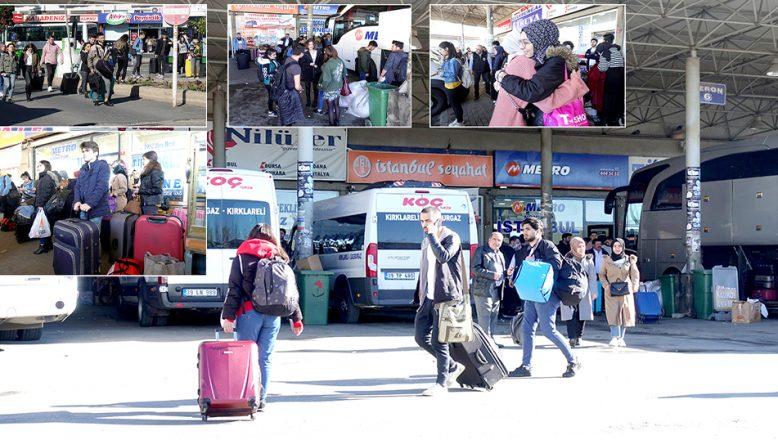 Üniversite öğrencileri, otobüs terminalinde yoğunluk oluşturdu