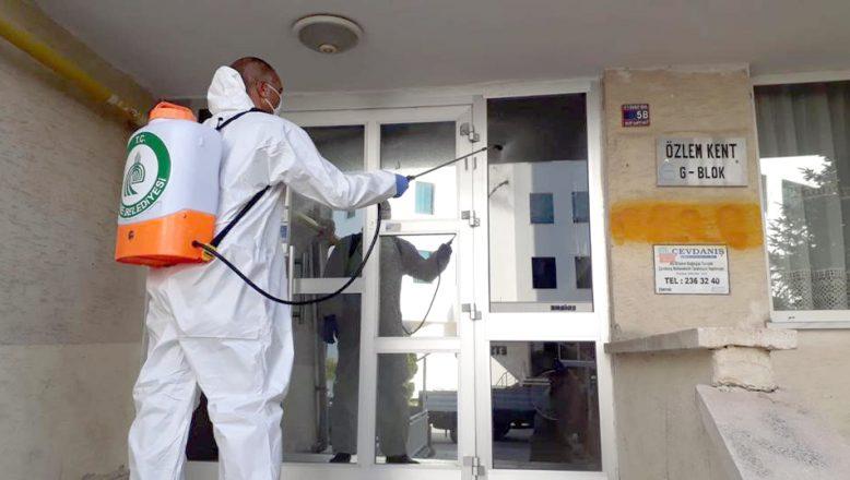 Apartman ve sitelerde dezekfekte devam ediyor