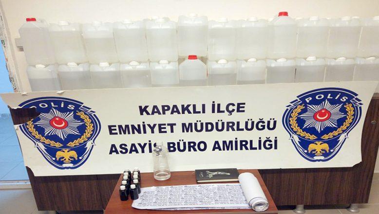 Tekirdağ'da kaçak üretilen 240 litre etil alkol ele geçirildi