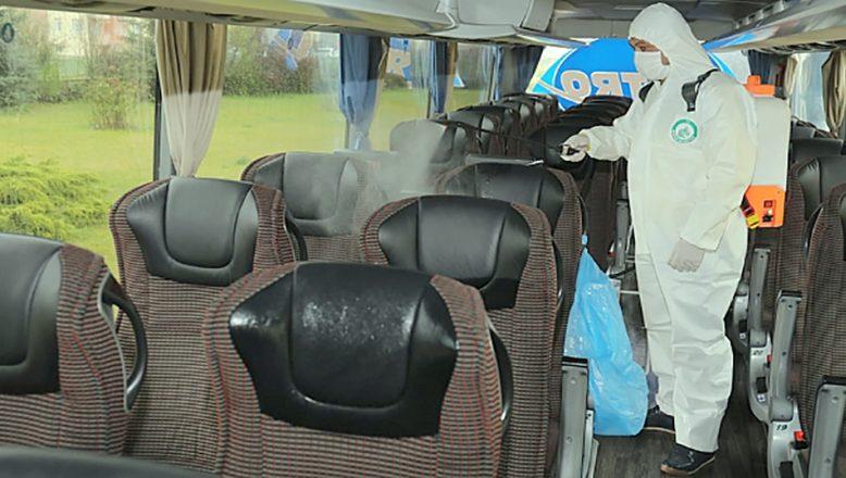 Hükümlüleri taşıyacak otobüsler dezenfekte edildi