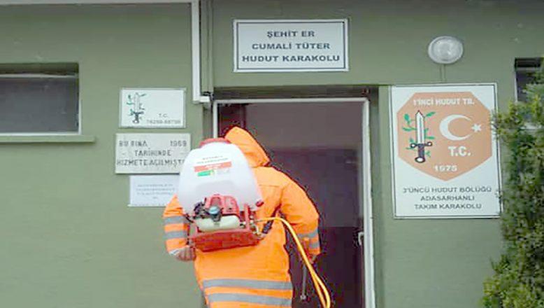 Sınır karakolları dezenfekte edildi