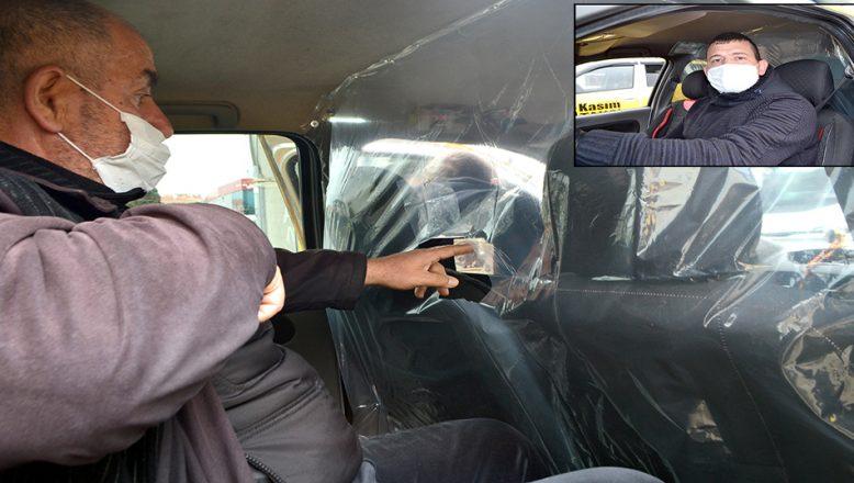 Taksi şoföründen, koronavirüse brandalı önlem