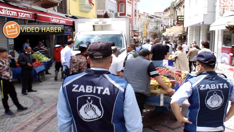 Zabıta ve seyyar satıcılar arasında tartışma