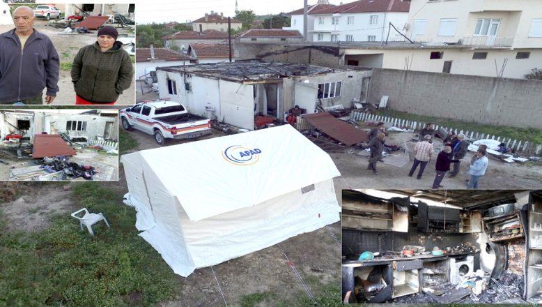 Evleri dört kez yanan aile, otel yerine, çadırda kalmayı tercih etti