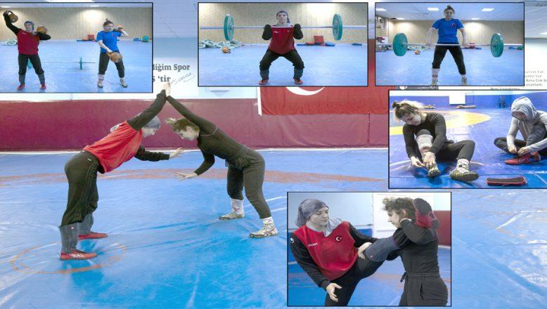 Olimpiyata hazırlanan kadın güreşçiler, özel izinle mindere döndü