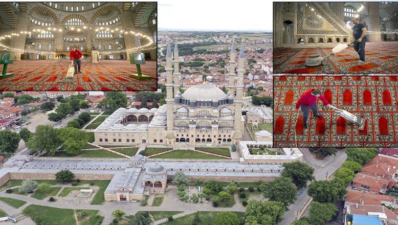 Cuma namazıyla ibadete açılacak Selimiye Camii, dezenfekte edildi