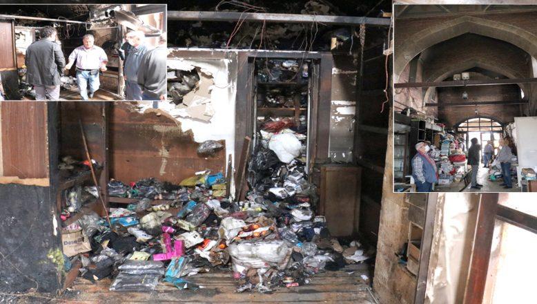 Yangında zarar gören tarihi çarşıda, incelemelerde bulunuldu