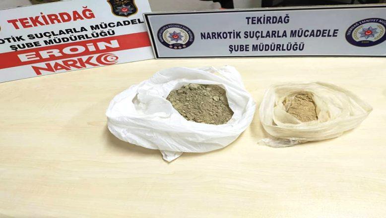 Tekirdağ'da 311 gram eroin ele geçirildi