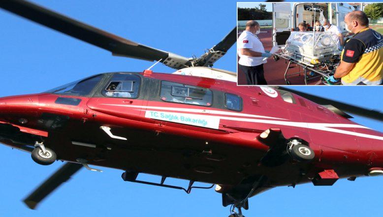 Ambulans helikopter, yeni doğan bebek için havalandı