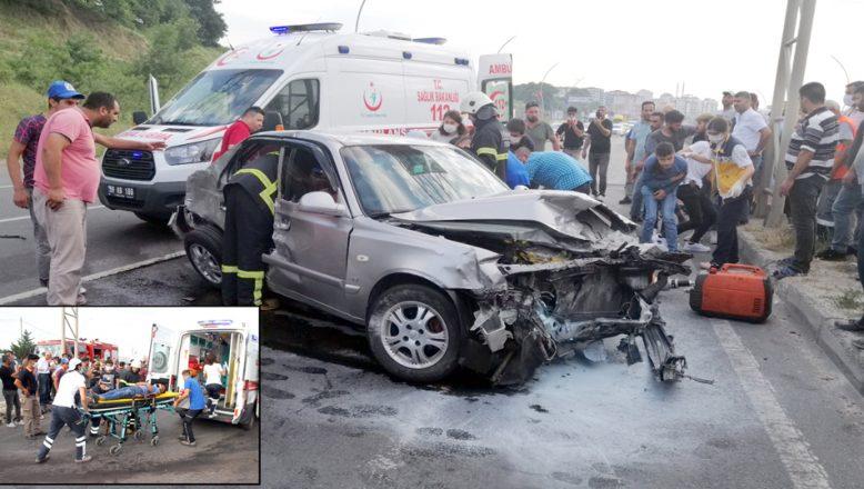 Üç aracın çarpıştığı kazada, dört kişi yaralandı