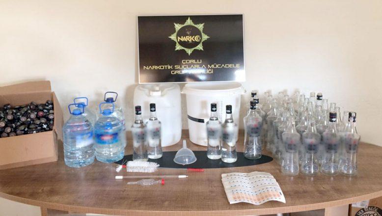Kaçak içki imal edilen eve operasyon düzenlendi