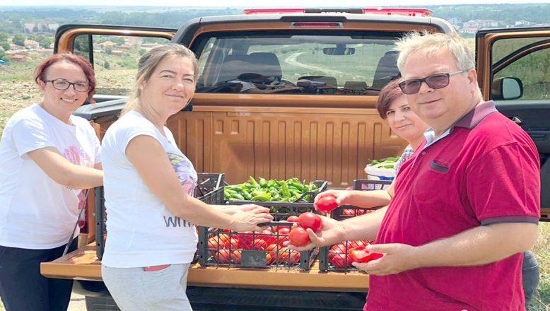 Tarıma kazandırılan arazide yetiştirilen ürünler ihtiyaç sahiplerine dağıtılıyor