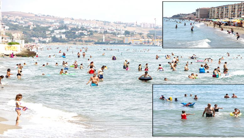 Sıcaktan bunalanlar denizde serinliyor
