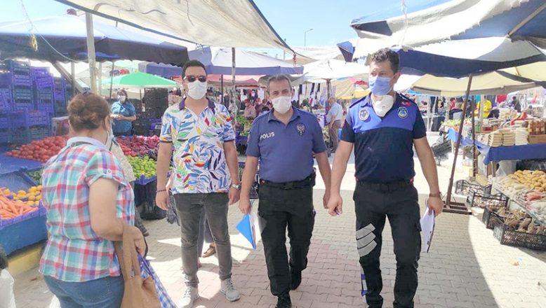 Maske takmayan pazarcılara para cezası kesildi