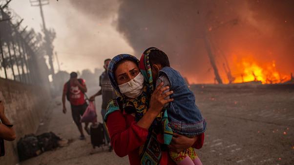 Moria sığınmacı kampında tekrar yangın çıktı