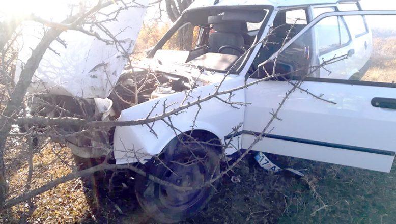Kontrolden çıkan otomobil ağaca çarptı