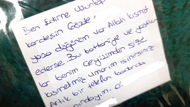 Duygulandıran notla İzmir'e gönderdi