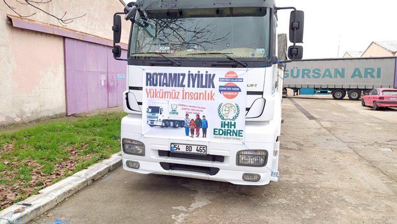 Edirne'den Suriye'ye yardım TIR'ları gönderildi