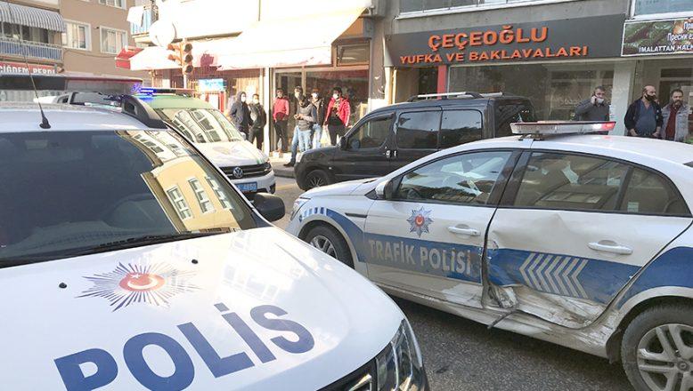 Polis aracına çaptıktan sonra durduruldu