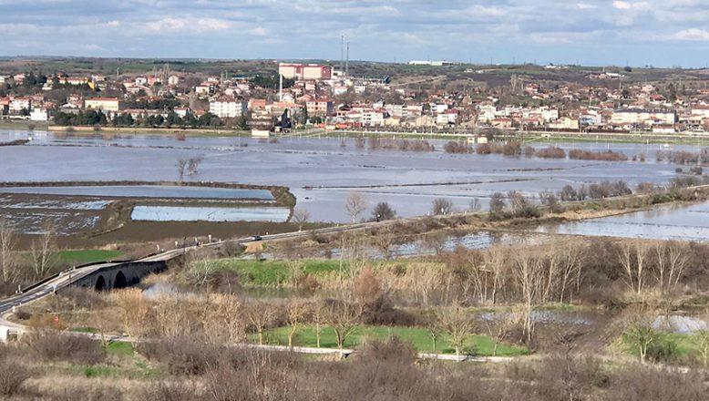 Ergene taştı, tarım arazileri su altında kaldı