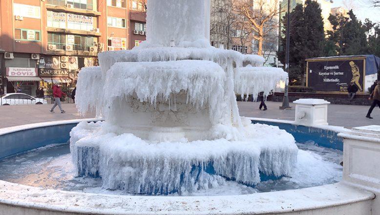 Süs havuzu buzla kaplandı
