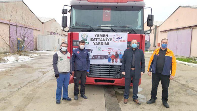 Edirne'den Yemen'e 2 TIR battaniye