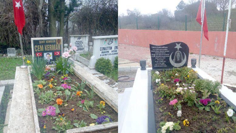 Şehitlerimizin mezarları çiçeklerle donatıldı