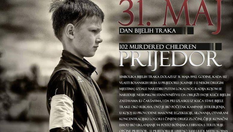 Prijedor'daki soykırım, beyaz kurdelelerle anıldı