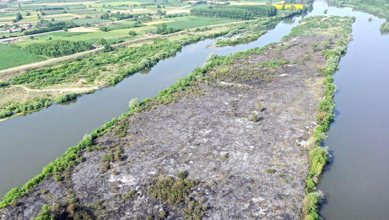 Meriç Nehri'ndeki adacık küle döndü